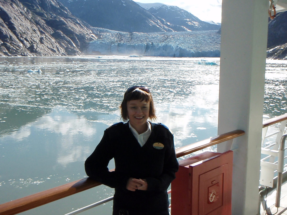 Alaska with RCCL | Amanda In Front Of A Glacier